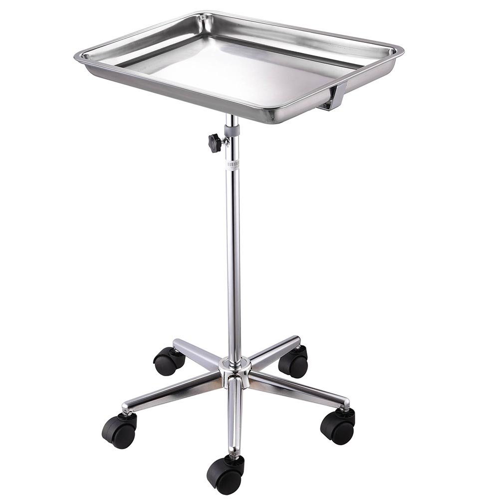 Adjustable Stainless Steel Mayo Stand Removable Tray with Dual Wheel Shielded Nylon Casters Stable Five-Leg Chrome Mobile Base 22 lbs. Weight Capacity US Delivery by ZeHuoGe