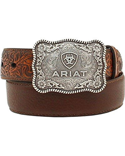 Ariat Boys' Distressed Hand Tooled Belt Brown 26