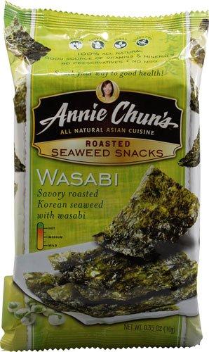 Annie Chun's Roasted Seaweed Snacks Wasabi 0.35 oz (Pack of 24)