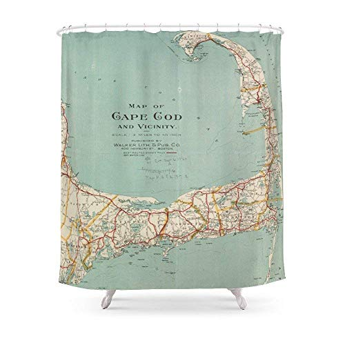 "Breezming Vintage Map of Cape Cod (1917) Shower Curtain 60""x 72"" for Bathroom"