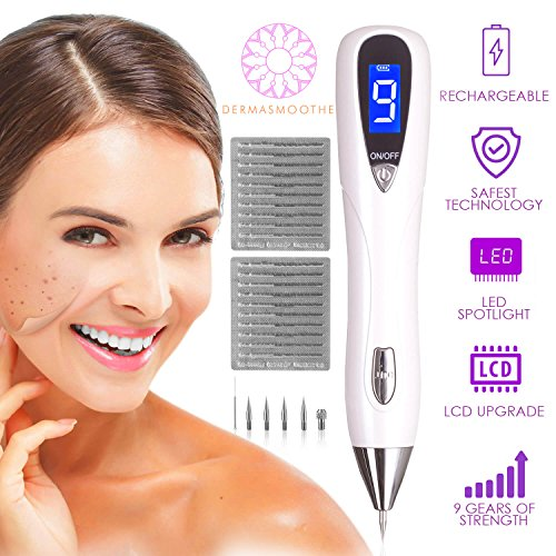 Dermasmoothe Pro Mole Removal Pen Kit | Skin Tag Remover, Mole Remover, Warts, Nevus, Dark Spots, Freckles, Tattoo | 9-Gears, USB Rechargeable, LCD Display | Spot Eraser Pro, Facial Skin Care Tool