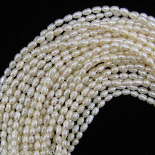 FidgetFidget 4-5mm White Freshwater Natural Pearl Rice Loose Beads 15''