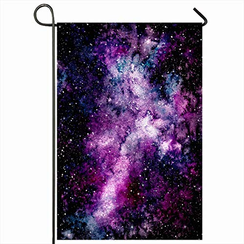 Ahawoso Garden Flag 12x18 Inches Night Black Watercolor Blue Pink Violet Nebula Astrology Starry Astronomy Celestial Cloud Outdoor Decorative Seasonal Double Sided Home House Yard Sign ()