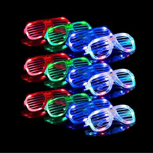 Lentes LED Nen de Fiesta- 12 Lentes de sol LED Neon para fiestas con 3 configuraciones de cristales brillantes en colores variados en un paquete de accesorios para fiestas que brillan en la oscuridad