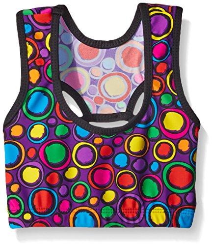 Gia Mia Dance Big Girls Remix Print Bra Top, Neon Circles, Small by Gia Mia