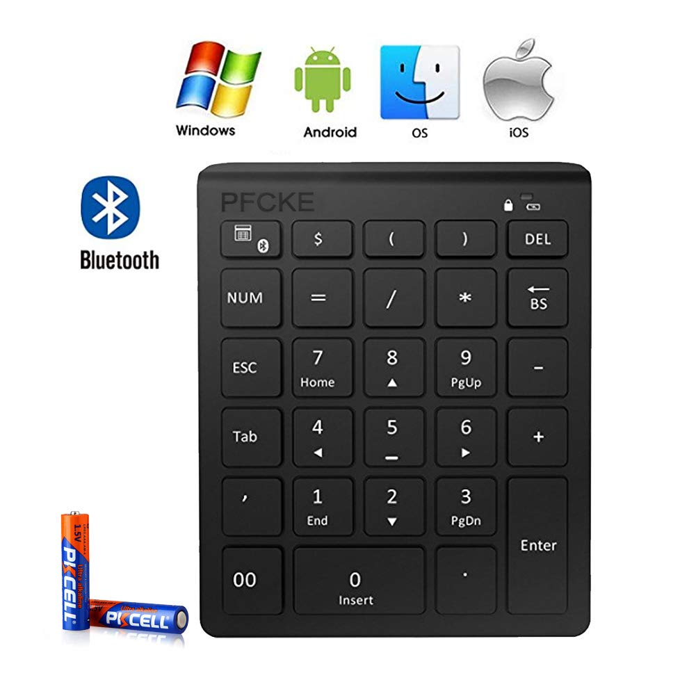 PFCKE Bluetooth Numeric Keypad,Portable Wireless Bluetooth 28-key External Number Pad with Multiple Shortcuts for Laptop Windows,IMac Mackbook IPad,SmartTV,Android Tablet Smartphone,For tax accounting