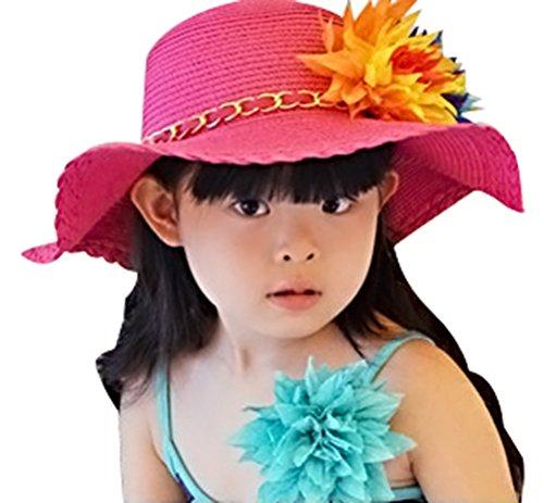 Bienvenu Kids Girls Multi-colors Large Brim Flower Beach Straw Sun Hats,Fuchsia