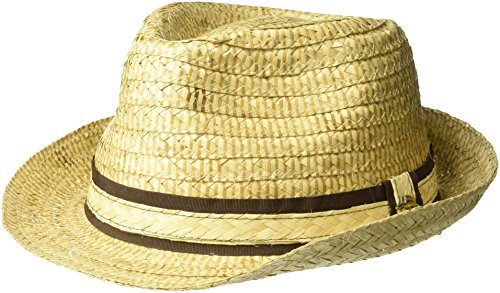 Tommy Bahama Men's Burned Raffia Fedora Hat, Natural, XXL