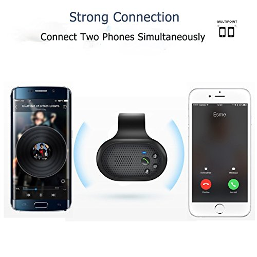 Bluetooth Hands Free Car Speakerphone, SUNITEC Bluetooth Visor Car Kit In-Car Phone Speaker AUTO POWER ON Support GPS, Music and HandsFree Calling for iphone, Samsung and Smartphones [2 Year Warranty] by Sunitec (Image #4)