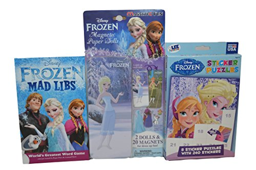 Frozen Magnetic Fun Magnetic Paper Dolls Frozen Peel 'n Stick Sticker Puzzles and Frozen Mad Libs Bundle
