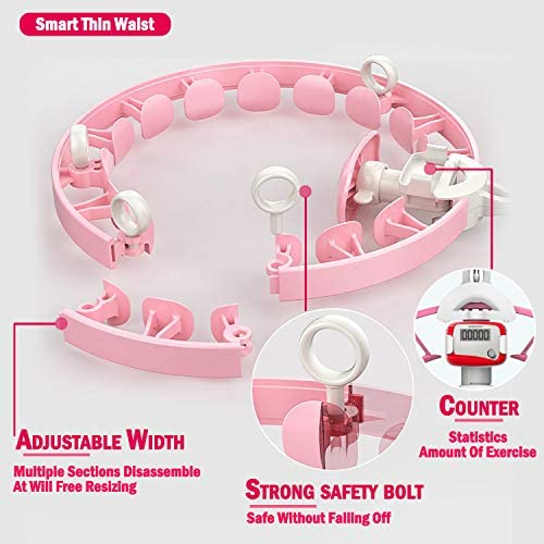 Smart Hula Hoop,Weighted Non-Dropping Detachable Hula Hoop with Record Data counter,Indoor & Outdoor exercise kit,Abdomen slimming waist Fitness Weight Loss,Increase Beauty tools for Adults Kids 6 pcs 3