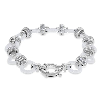dc28df2ed4d7f Amorucci Sterling Silver Rafaella Bracelet. Rhodium plated set with ...