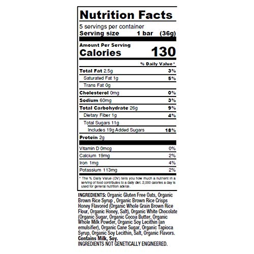 Don't Go Nuts Nut-Free Organic Chewy Granola Bars, White Chocolate Chip, 30 Count, Non GMO, Gluten Free