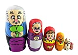 Winterworm Cute Bright Color Sweet Family Pattern Handmade Wooden Russian Nesting Dolls Matryoshka Dolls Set 6 Pieces For Kids Toy Birthday Christmas Gift Home Kids Room Decoration