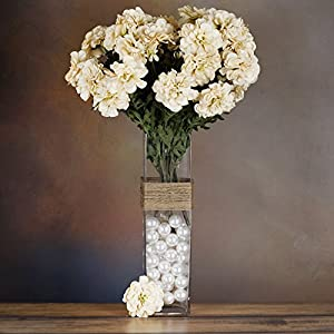 Tableclothsfactory 4 Bushes California Zinnia Artificial Wedding Craft Flowers - Champagne 23