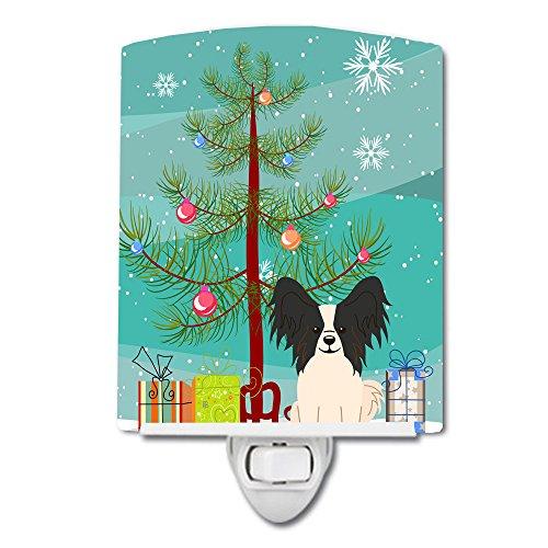 Caroline's Treasures Merry Christmas Tree Papillon Black White Ceramic Night Light, 6 x 4'', Multicolor by Caroline's Treasures