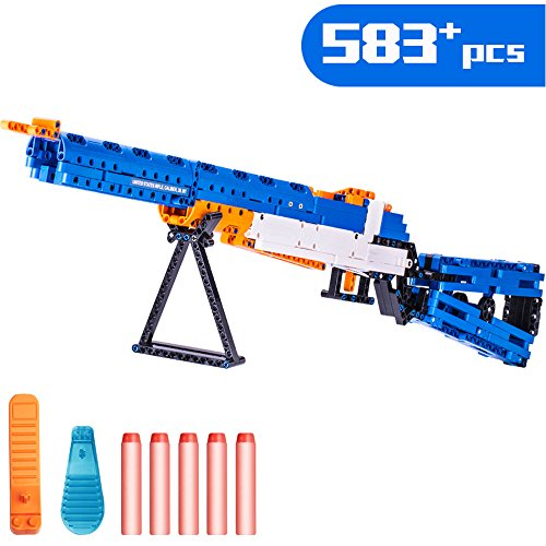 iPlay, iLearn Kids Building Blocks Rifle Gun Model, Assembly Puzzles Bricks Playset, Foam Darts Shooting Toy, Display Gift Collection Ages 6, 7, 8, 9, 10, 11, 12 Children Boys Girls Teens Adults (Preschool Foam Block)