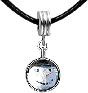 Chicforest Silver Plated Real Snowman Photo Red Zircon Crystal July Birthstone Flower dangle Charm Beads Fit Pandora Chamilia Biagi Charm Bracelet