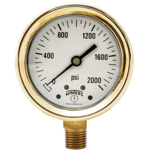 Winters PBC Series Forged Brass Single Scale Pressure Gauge, 0-2000 psi, 2-1/2