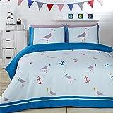 NCS Seaside Seagulls Birds Anchors Teal Green Duvet Cover Quilt Linen Bedding Set (Double)