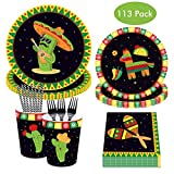 113Pack Cactus Disposable Tableware Set, DreamJ Mexican Party Supplies with Cactus Plates Napkins Cups Straws Forks Serves 16 for Hawaii Baby Shower Birthday Mexican Party Decorations Kit