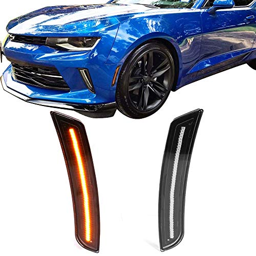 - Front Side Marker Lights Fits 2016-2018 Chevy Camaro | Black Housing Yellow Lights Front Side Marker LED Lamps by IKON MOTORSPORTS