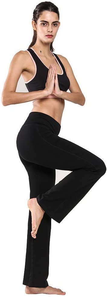 Pilates Fitness,Training Ogeenier Damen Baumwolle Bootcut Yogahose Flare Nylon Jogginghose Lang Hose Sporthose mit Hoher Taille und Tasche f/ür Yoga