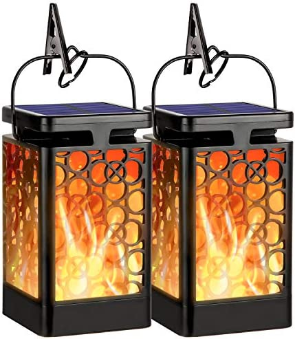 Hanging Solar Lights Outdoor New Upgraded Solar Lanterns Flickering Flame Hanging Lanterns Waterproof Solar Powered Decorative Lighting Flame Umbrella Garden Lights for Patio Deck Yard Camping 2 Pack