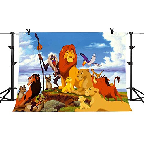 7X5FT Cartoon Lion Forest King Photography Backdrop Jungle Safari Background for Photographic Kids Children Party Studio Photo Backdrop Props GEPH103 - King Supplies The Party Lion