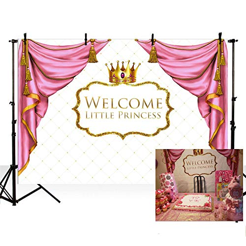 MEHOFOTO Welcome Little Princess Baby Shower Party Decorations Photo Studio Booth Background Pink Curtain Gold Crown Girl Backdrops Banner for Photography -