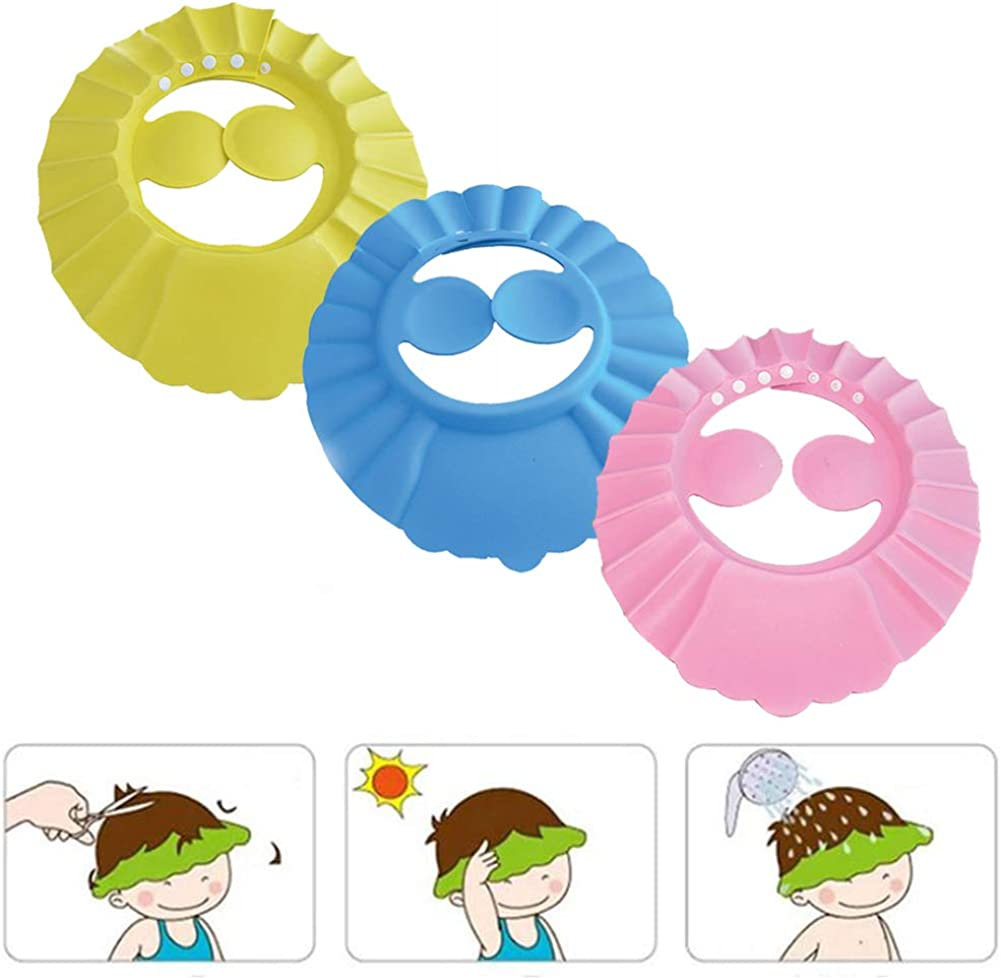 Leoie Baby Children Adjustable Shampoo Cap Ear Guard Bath Cap