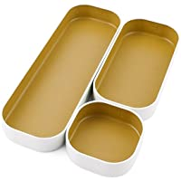 """Three By Three Seattle Drawer Organizer Pack of 3, 1"""", Gold (52314)"""