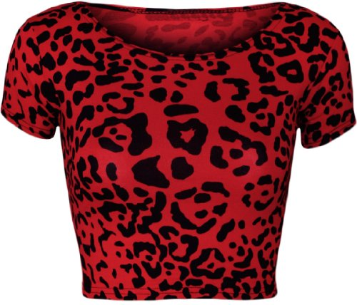 (WearAll Women's Print Cap Sleeve Crop Top - Red Leopard - US 8-10 (UK 12-14))