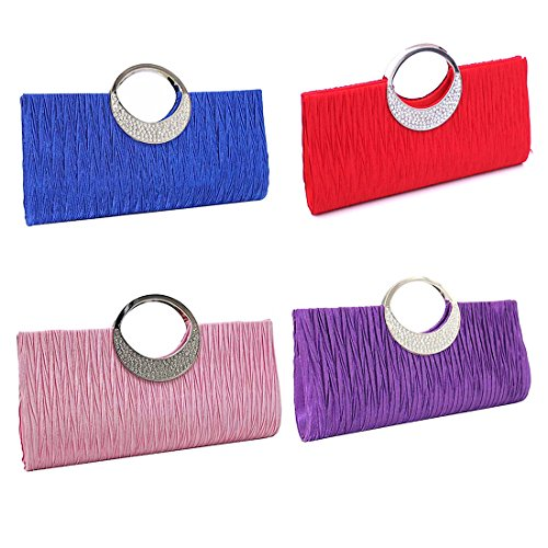 Party Women Deep Color Wallet Handbags Rhinestone Diamante Coffee Pleated Clutch Purse Bag Satin Wedding Verus 8qad7TT