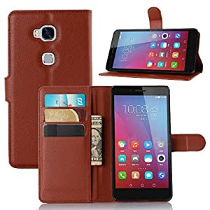 Huawei Honor 5X Case, Ultra Slim Stand Flip Wallet Case with Built-in Card Slots, Vikoo Premium PU Leather Wallet Cover Case for Huawei Honor 5X Smartphone(Brown)