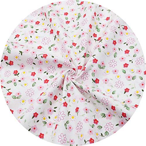 Pink Floral Cotton Fabrics for Baby Girls Dresses Sewing Apron Bib Infant Bedding Doll Cloth Fabrics Needlework Material,1,80Cmx50Cm
