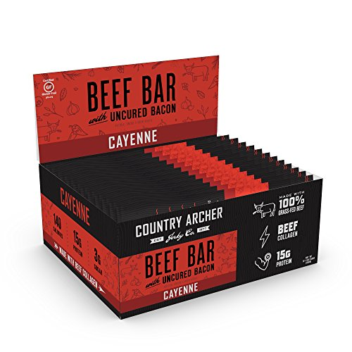 Naked Cow (Country Archer Meat Bar, Gluten Free, Antibiotic Free 100% Grass-Fed Beef with Uncured Bacon, Cayenne, 1.5 Ounce (12 Count))