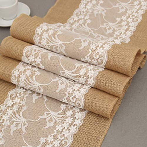 - Table Runners - Hessian Burlap Table Runner Weding Wide Flower Lace Natural Rustic Vintage Decor - Gras Clearance Indian Proof Weddings Narrow Embroidered Rustic Parties Tiffany Burgundy Mardi