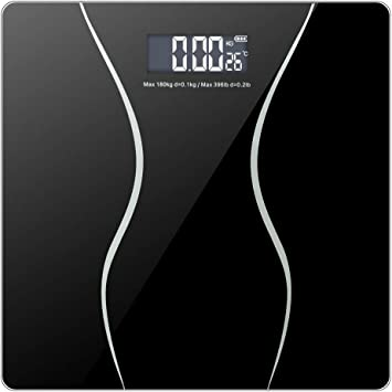 Smart Digital Body Weight Bathroom Scale with Backlit Shine Through Display and Step-On Technology 11.00 x 11.00 x 1, Black 180Kg//396 lbs Capacity and Accurate Weight Measurements
