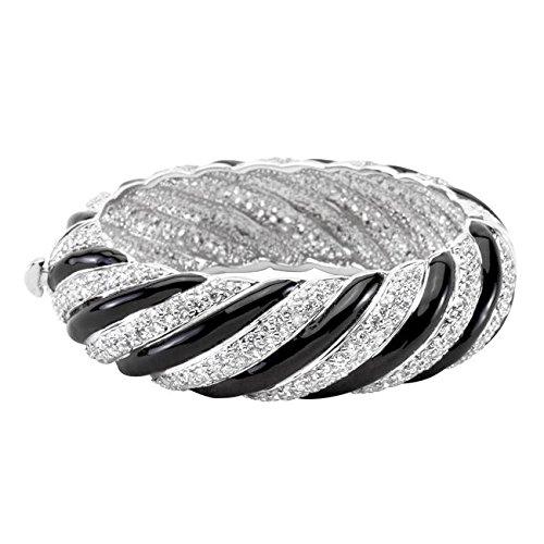 Freedom Fashion Simple Rhodium Plated Finish Crystal Bangle by Freedom Fashion Jewelry