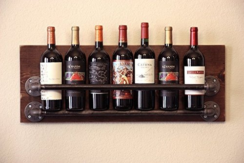 Diwhy Wine Rack Glass Holder & Shelf, Rustic Handmade Reclaimed Wood Hanging Wine Rack by Diwhy