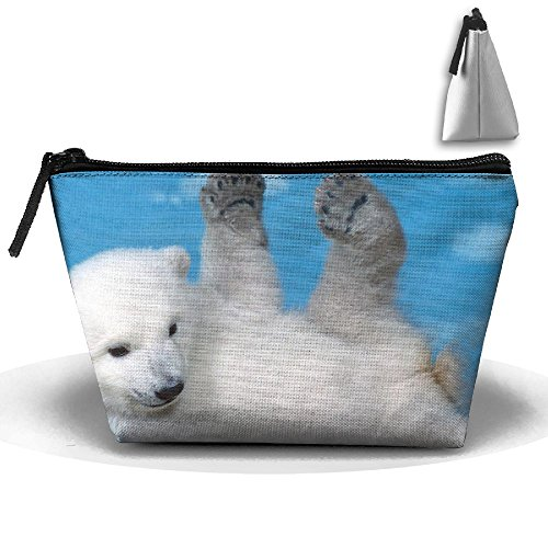 Trapezoidal Capacity Storage Makeup Bag Polar Bear Portable Hand Travel Wash Bag -
