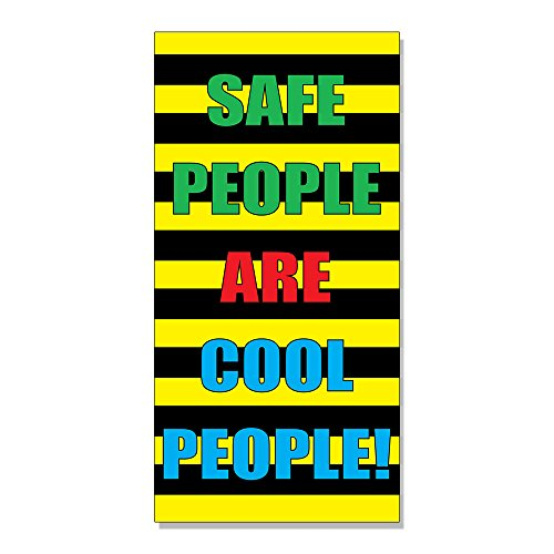 Safe People Are Cool People Safety DECAL STICKER Retail Store Sign - 14.5 x 36 inches