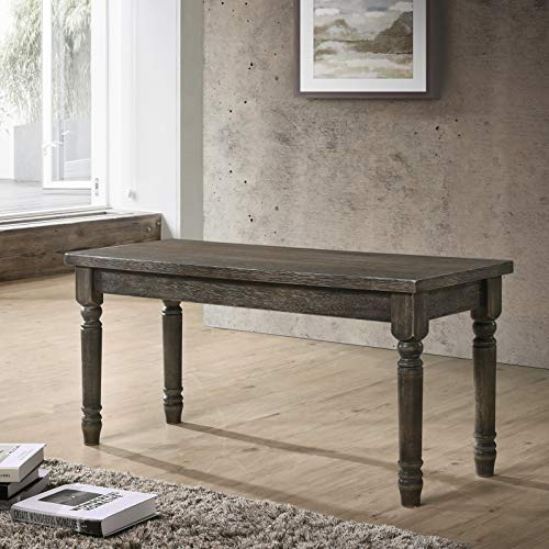 Roundhill Furniture CB402 Ashton Turned Legs Wood Dining Bench Distressed Black