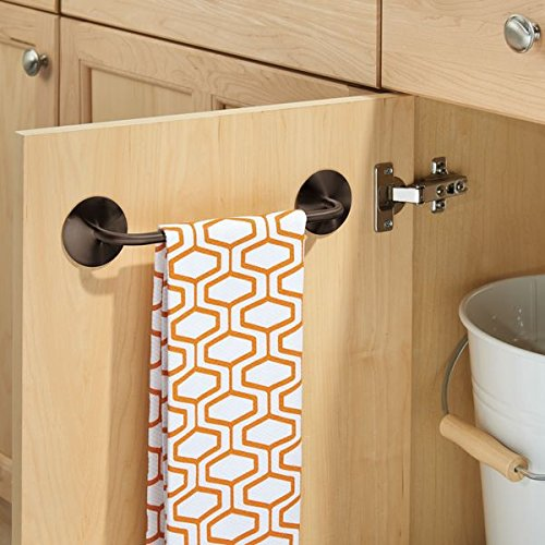 mDesign Kitchen Self-Adhesive Towel Bar Holder for Hand Towels, Dish Towels - Pack of 2, Bronze