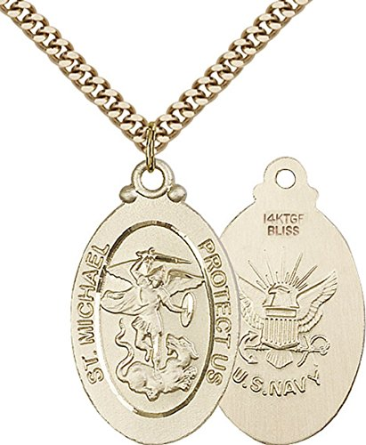 - Military and Service Medals by Bliss 14K Gold Filled Saint Michael United States Navy Medal Pendant, 1 1/8 Inch