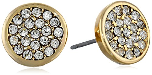 Anne Klein Crystal Bezel - Anne Klein Gold Tone and Crystal Pave Stud Earrings