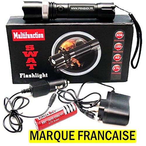 Koffer SWAT Polizei 500m Taschenlampe Lumen LED Flashlight stoßfest Taschenlampe LED wiederaufladbar, LED Kopflampe mit 1LED CREE T6ETANCHE à Regen, stoßfest stoßfest PIRABADI