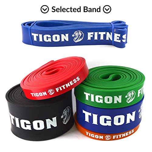 "Pull up Assist Bands from Tigon Fitness. Choose your Band for Resistance Workout, Physical Therapy, Stretching, Flexibility or Crossfit. Full Body Training at your Home Gym, Portable with our Case, Improve your Core Strength Today!! (#4 [41"" * 1.75"" * 0.177""] Blue 50-125 lbs)"