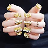 Yean 20 Pcs False Nail Vintage Chic Bridal Gold Frosted Glossy Fake Nail Full Nail Tips - Press on Nail Long Square with Rhinestones Nail strips with Glue and Adhesive Tab for women and girls